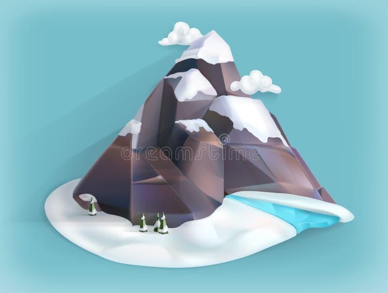 Icona di inverno della montagna illustrazione vettoriale