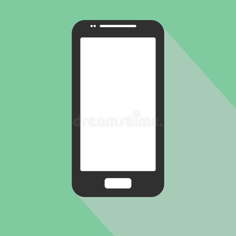 Icona di iphone di Smartphone nella progettazione piana di stile sui precedenti blu Illustrazione di riserva ENV 10 di vettore illustrazione vettoriale
