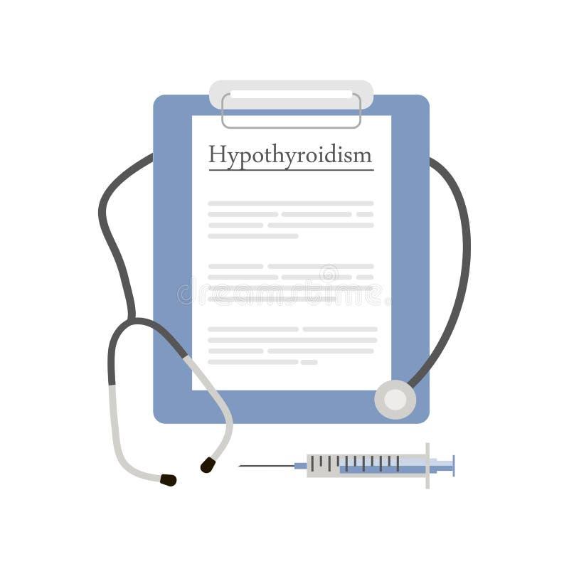 Icona di ipotiroidismo di diagnosi illustrazione di stock