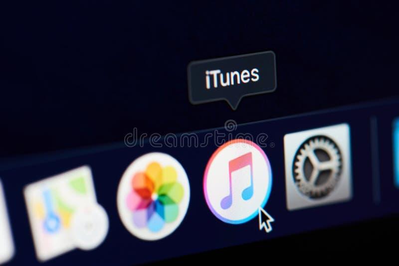 Icona di Itunes sullo schermo immagini stock libere da diritti
