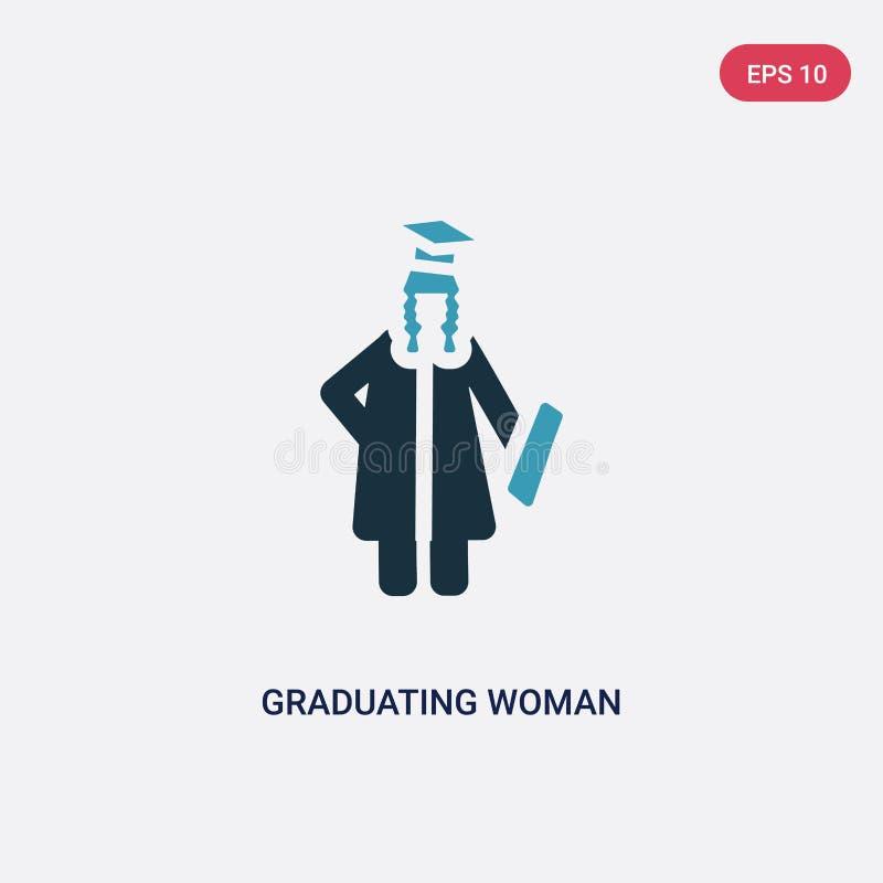 Icona di laurea di vettore della donna di due colori dal concetto della gente il simbolo di laurea blu isolato del segno di vetto royalty illustrazione gratis