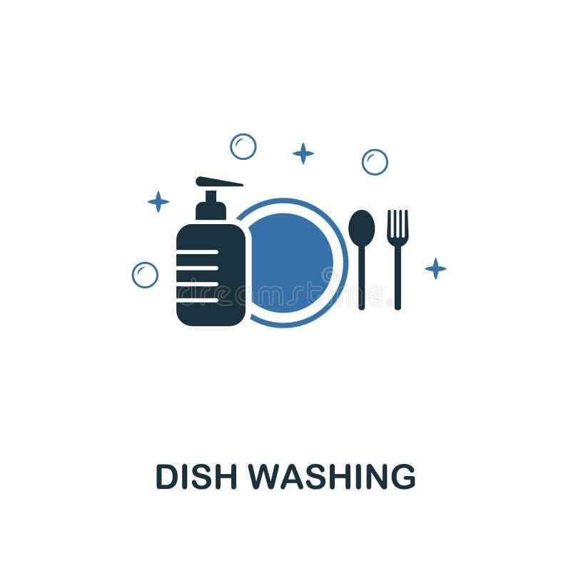 Icona di lavaggio del piatto I due colori creativi progettano dalla raccolta di pulizia delle icone Uso di UX e di UI Illustrazio illustrazione di stock