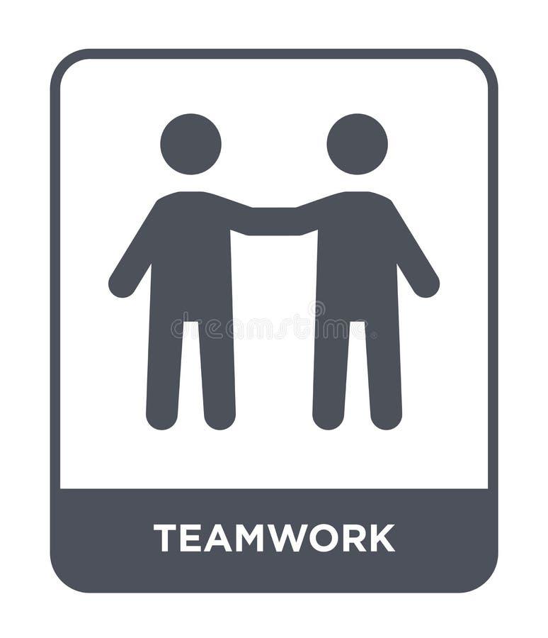 icona di lavoro di squadra nello stile d'avanguardia di progettazione Icona di lavoro di squadra isolata su fondo bianco piano se illustrazione di stock