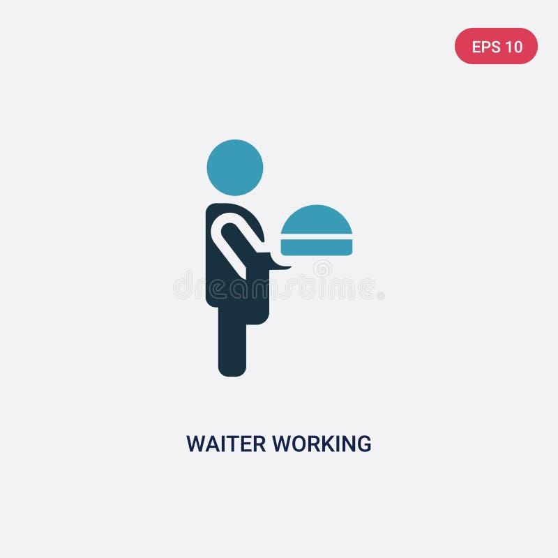Icona di lavoro di vettore del cameriere di due colori dal concetto della gente il simbolo di lavoro isolato del segno di vettore royalty illustrazione gratis