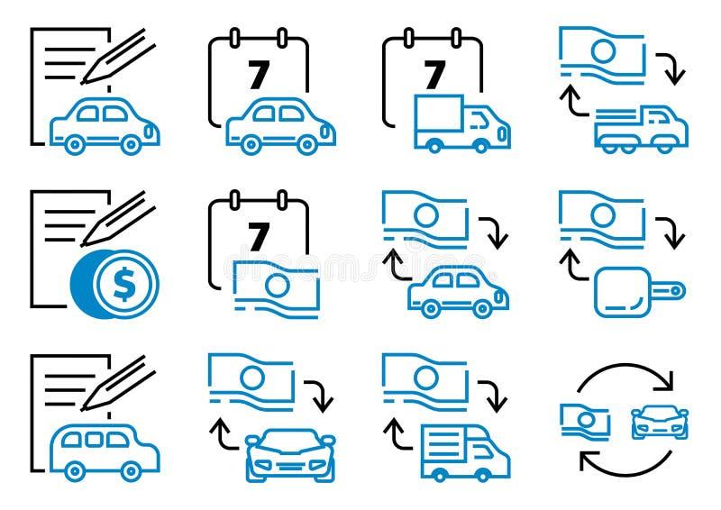 Icona di leasing del motore messa con lo strato del contatto illustrazione vettoriale