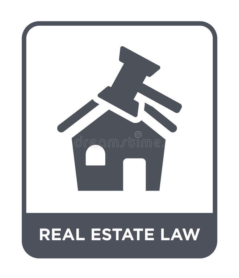 icona di legge del bene immobile nello stile d'avanguardia di progettazione icona di legge del bene immobile isolata su fondo bia royalty illustrazione gratis
