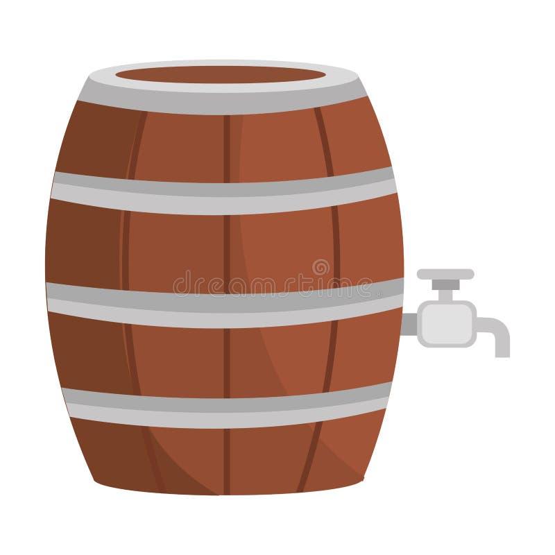 Icona di legno del barilotto della birra illustrazione vettoriale