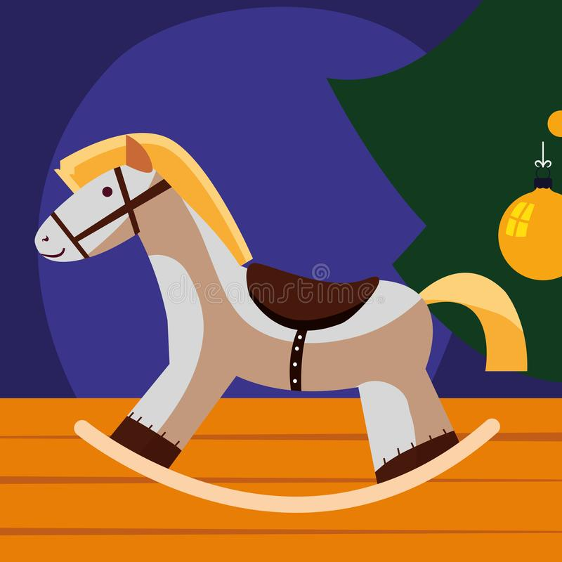 Icona di legno del cavallo illustrazione vettoriale