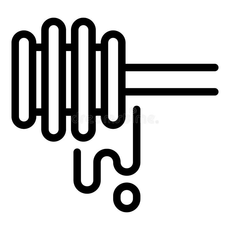 Icona di legno del cucchiaio del miele, stile del profilo royalty illustrazione gratis