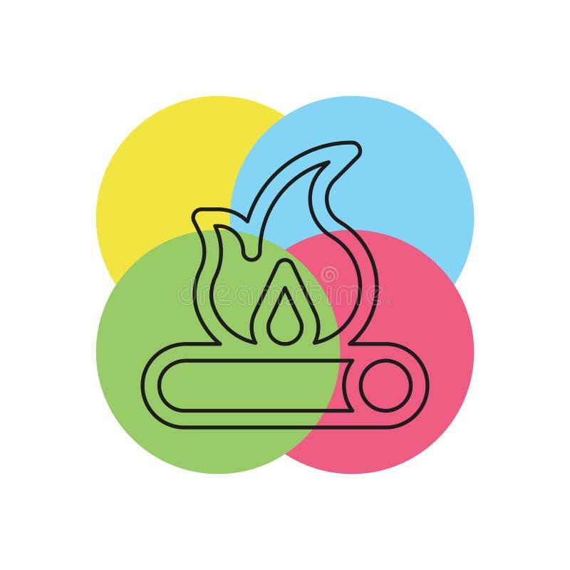 Icona di legno del fuoco - vettore del fuoco di accampamento - legna da ardere illustrazione vettoriale