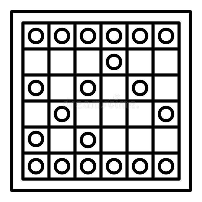 Icona di legno del gioco da tavolo, stile del profilo illustrazione vettoriale
