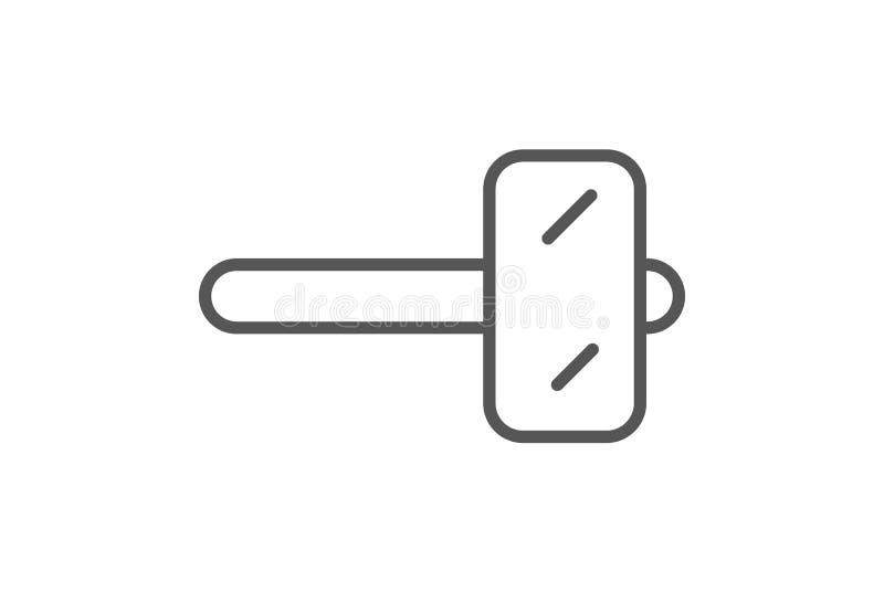 Icona di legno del martello nello stile lineare illustrazione di stock