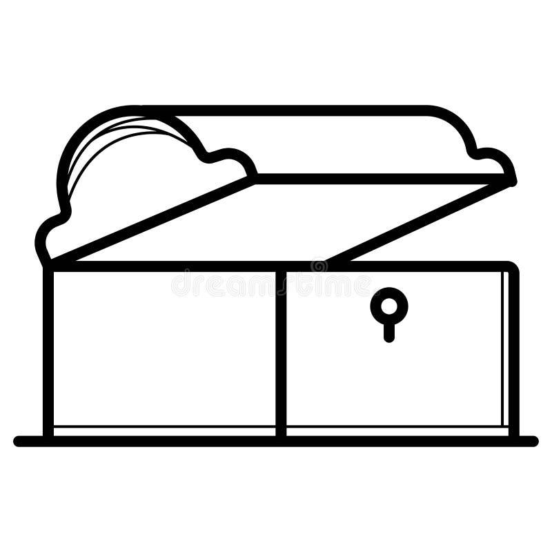 Icona di legno del petto illustrazione di stock