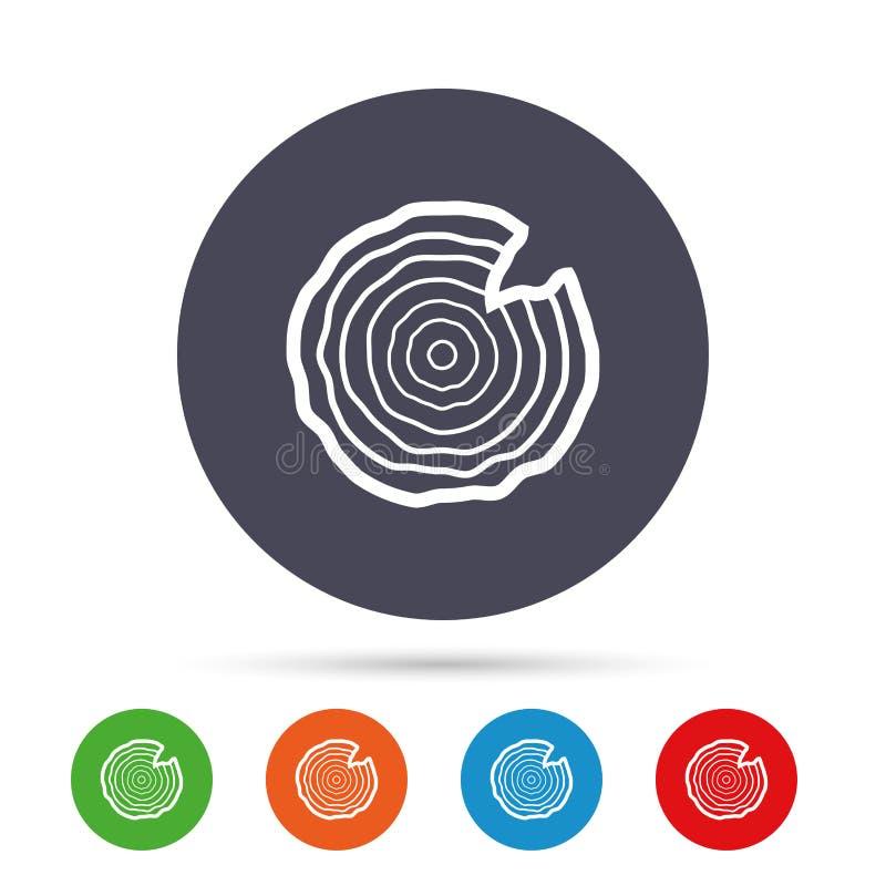 Icona di legno del segno Anelli di crescita dell'albero illustrazione di stock
