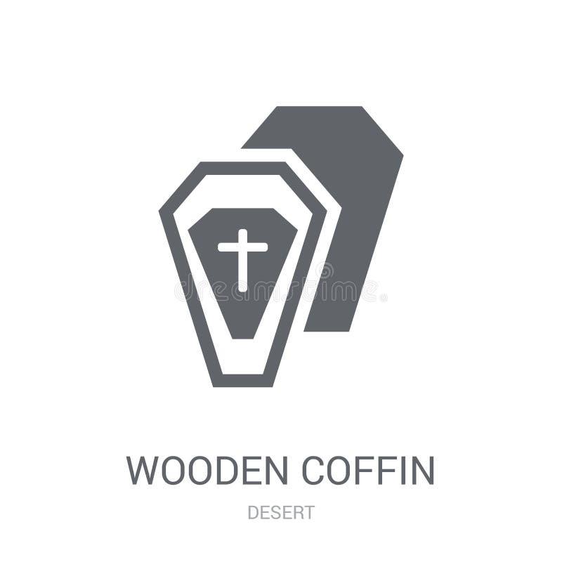 Icona di legno della bara Concetto di legno d'avanguardia di logo della bara sulla b bianca illustrazione di stock