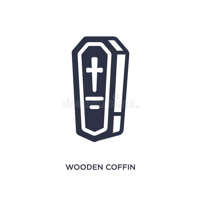 icona di legno della bara su fondo bianco Illustrazione semplice dell'elemento dal concetto del deserto illustrazione vettoriale