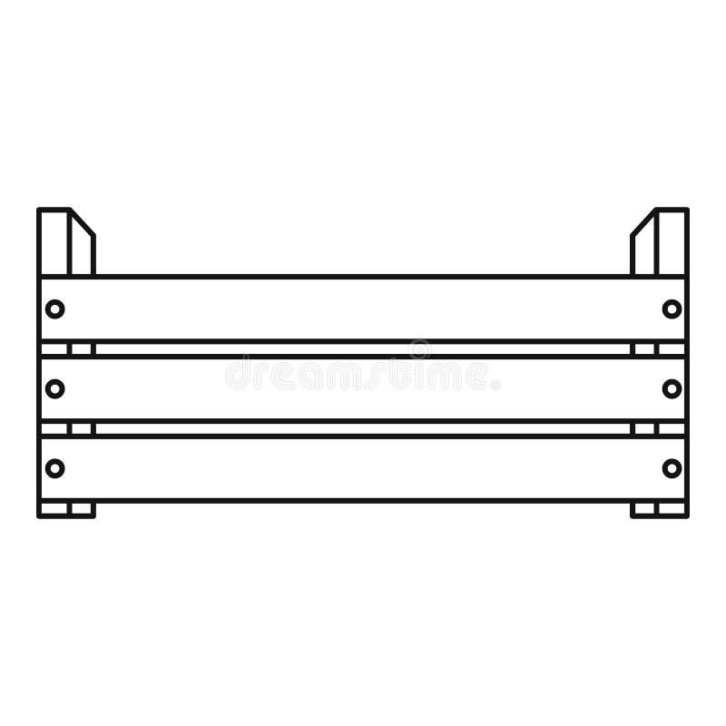 Icona di legno della scatola, stile del profilo illustrazione vettoriale