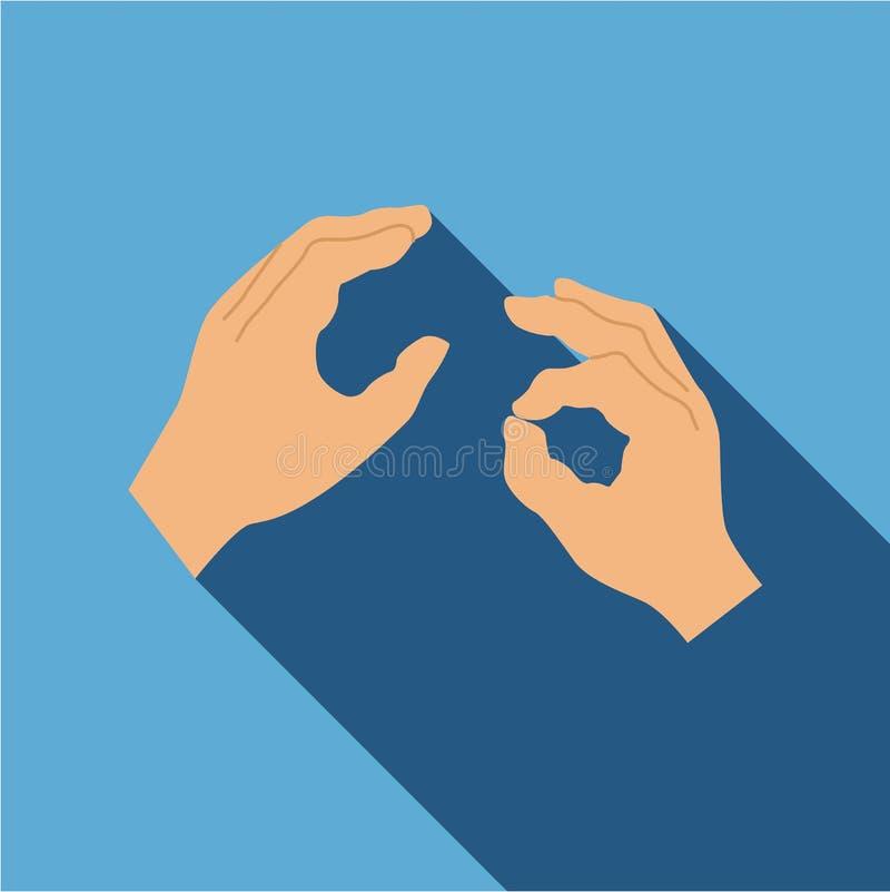 Icona di linguaggio dei segni della mano, stile piano royalty illustrazione gratis