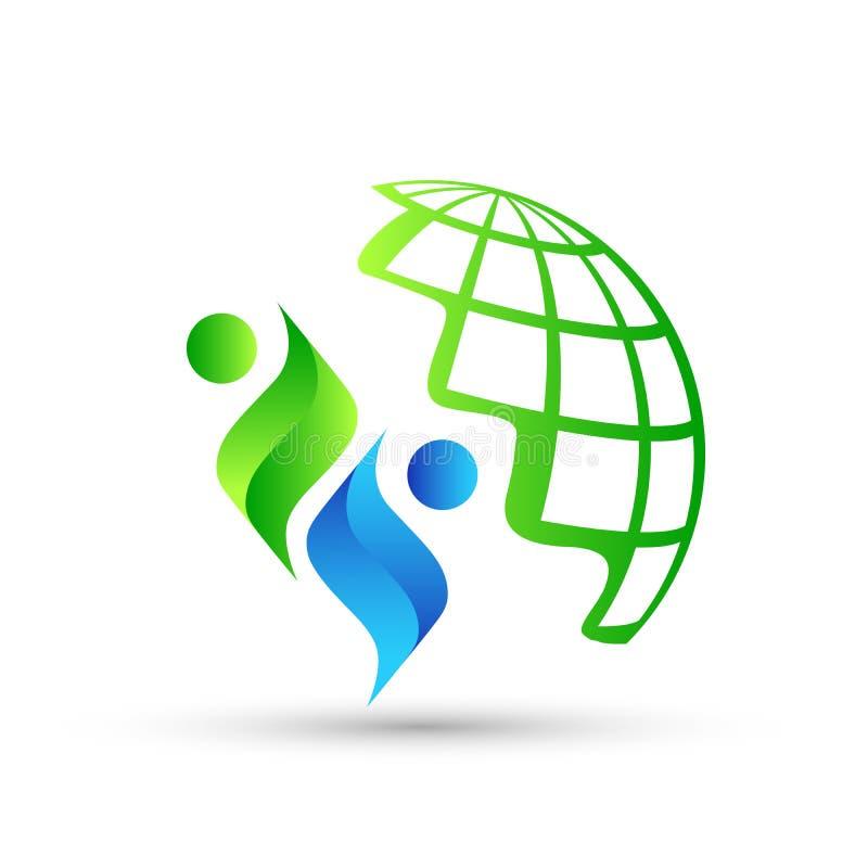 Icona di logo della gente del globo su fondo bianco royalty illustrazione gratis