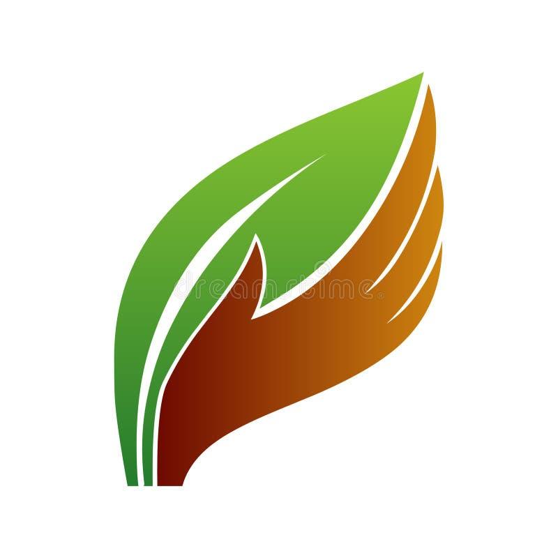 Icona di logo della mano e della foglia Conservi l'arte di concetto dell'albero royalty illustrazione gratis