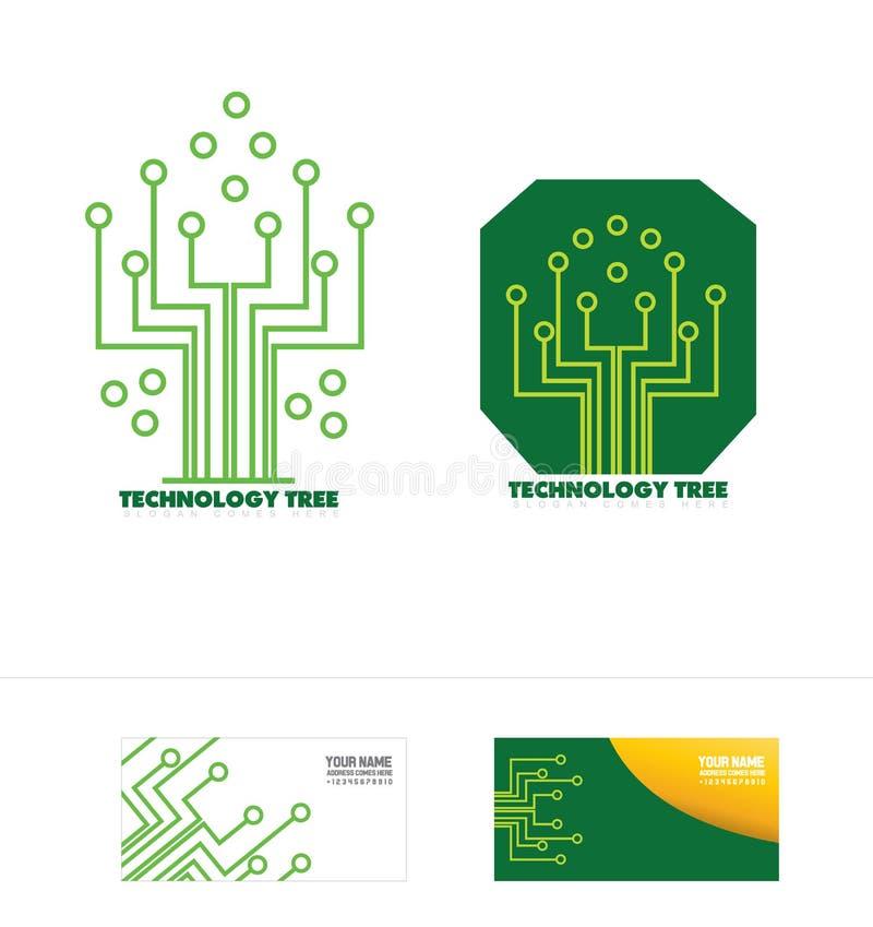Icona di logo di concetto dell'albero del circuito di tecnologia royalty illustrazione gratis