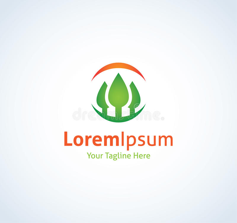 Icona di logo di vista della natura del cerchio di gioia di esperienza della foresta illustrazione vettoriale