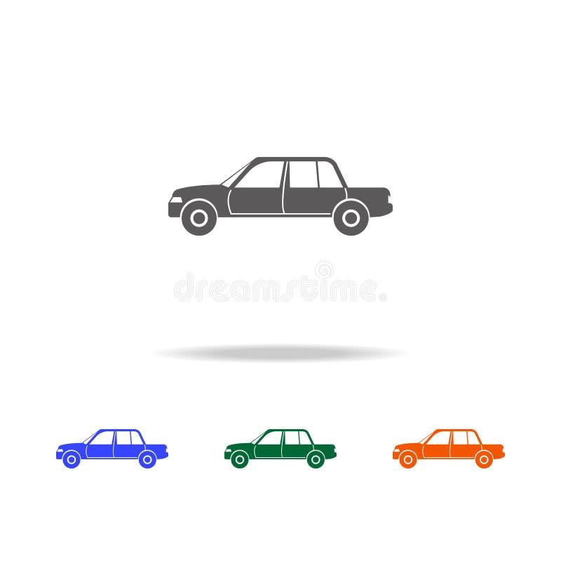 Icona di lusso dell'automobile Tipi di elementi delle automobili nelle multi icone colorate per i apps mobili di web e di concett illustrazione di stock