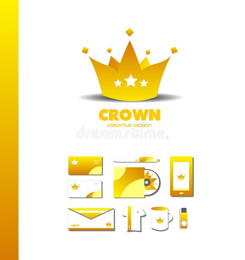 Icona di lusso dorata di logo dell'oro della corona di re royalty illustrazione gratis