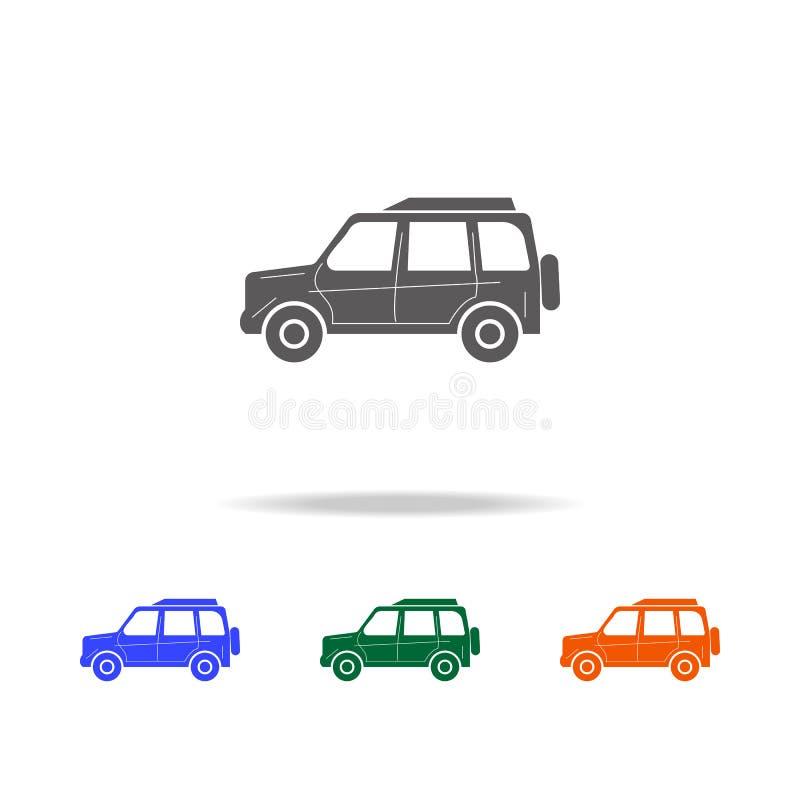 Icona di lusso a grandezza naturale dell'automobile Tipi di elementi delle automobili nelle multi icone colorate per i apps mobil illustrazione vettoriale