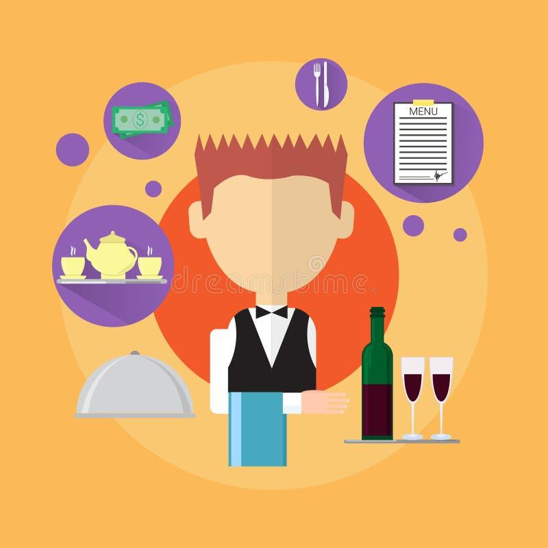 Icona di Man Catering Worker del cameriere royalty illustrazione gratis