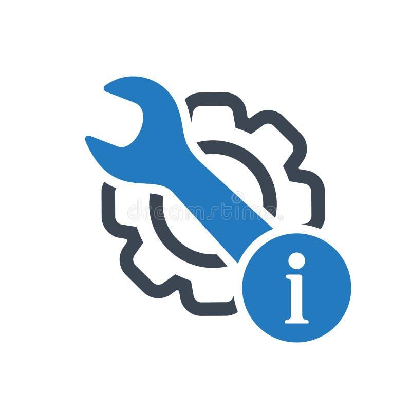 Icona di manutenzione con il segnale di informazione Icona di manutenzione e circa, FAQ, aiuto, simbolo di suggerimento royalty illustrazione gratis