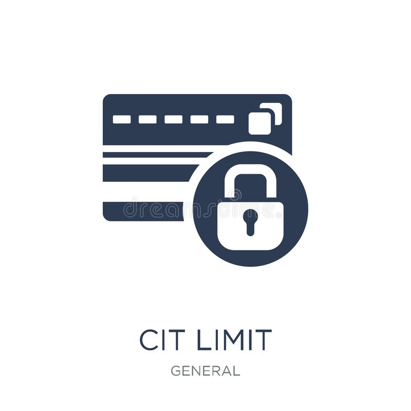 icona di massimale del credito Icona piana d'avanguardia di massimale del credito di vettore su bianco illustrazione vettoriale