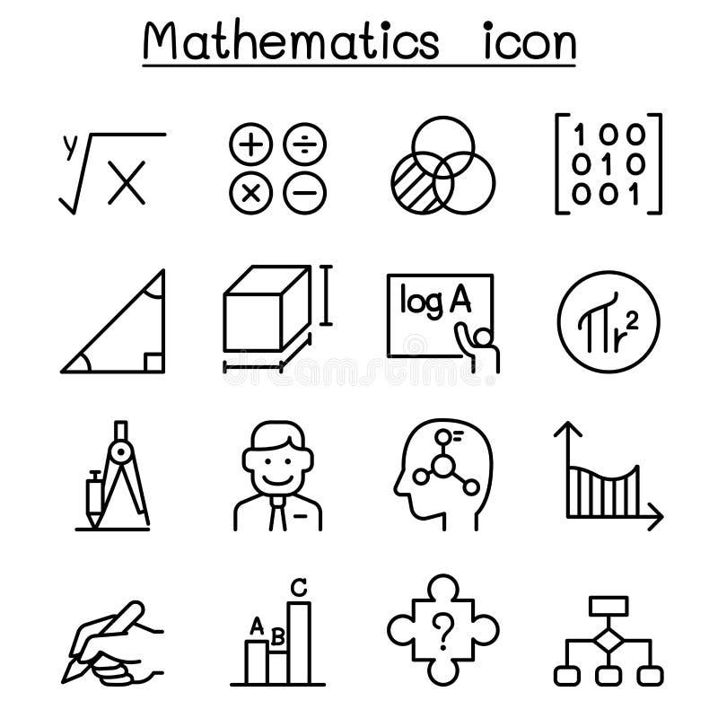 Icona di matematica messa nella linea stile sottile royalty illustrazione gratis
