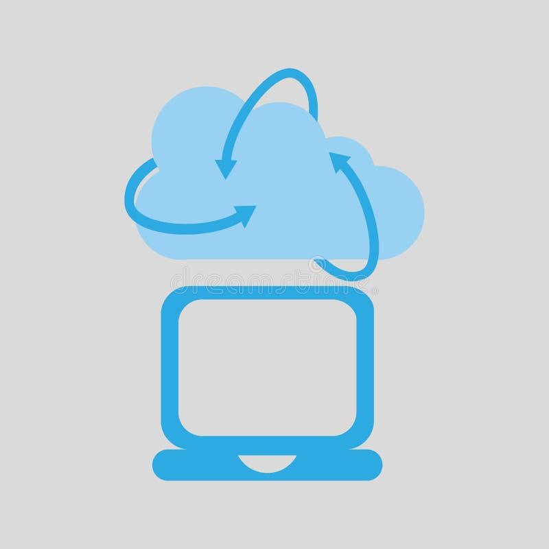 Icona di media del computer portatile di tecnologia della nuvola royalty illustrazione gratis
