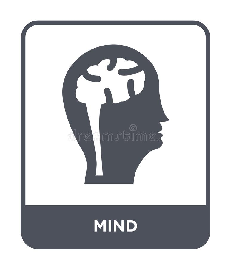 icona di mente nello stile d'avanguardia di progettazione icona di mente isolata su fondo bianco simbolo piano semplice e moderno royalty illustrazione gratis