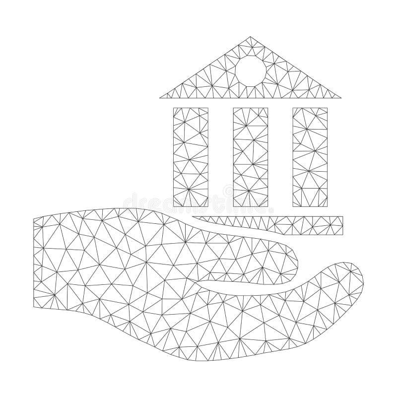 Icona di Mesh Vector Bank Service Palm illustrazione di stock