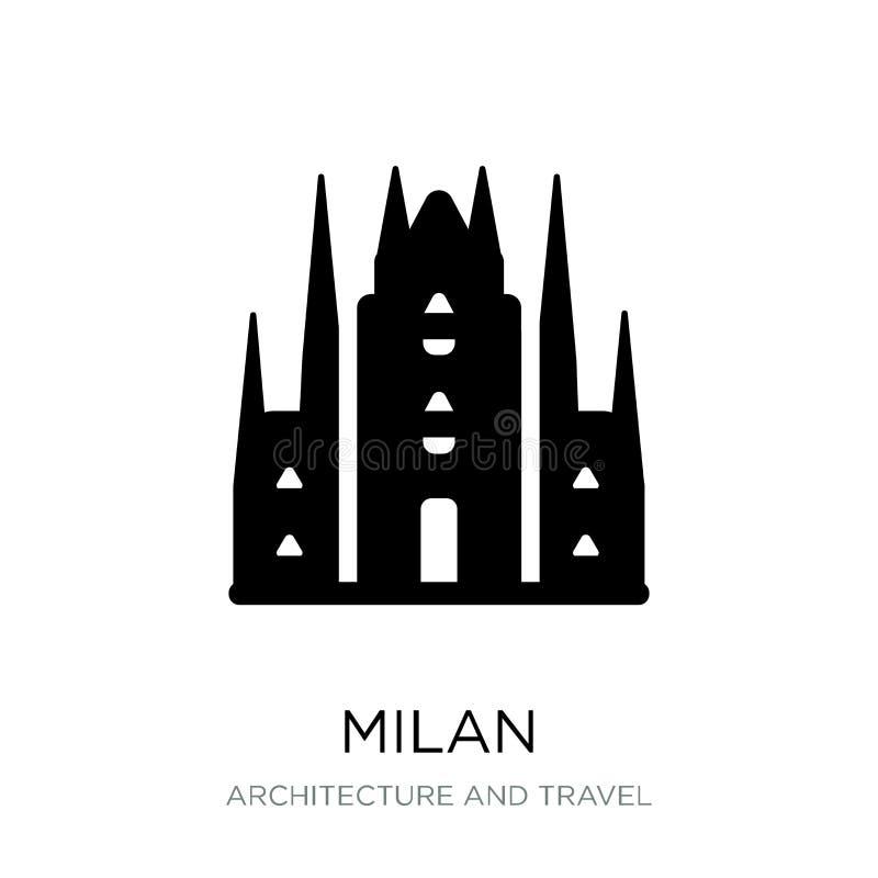 icona di Milano nello stile d'avanguardia di progettazione icona di Milano isolata su fondo bianco simbolo piano semplice e moder illustrazione di stock