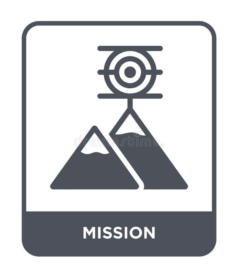 icona di missione nello stile d'avanguardia di progettazione icona di missione isolata su fondo bianco simbolo piano semplice e m illustrazione vettoriale