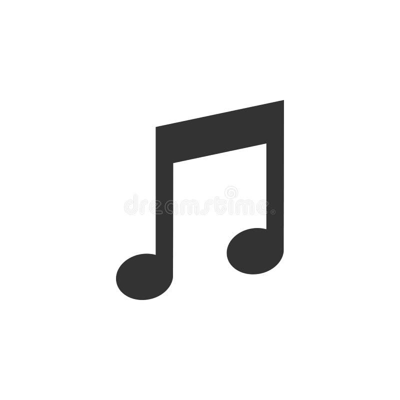 Icona di musica, segno della nota Illustrazione di vettore, progettazione piana illustrazione vettoriale