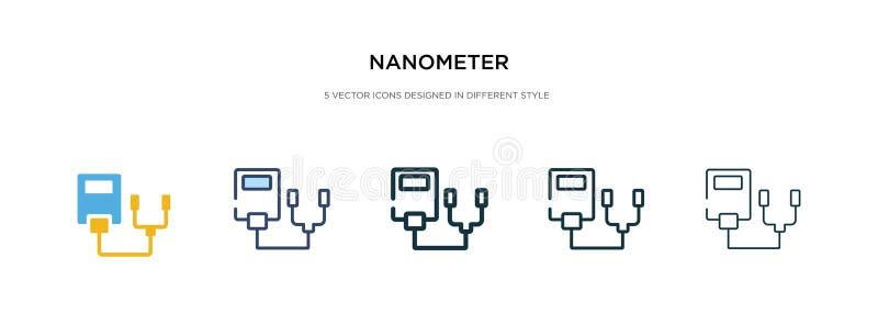 Icona di nanometro in illustrazione vettoriale di stile diverso due icone colorate e nere del nanometro del vettore progettate in royalty illustrazione gratis
