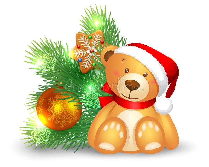 Icona di Natale con un orso e un albero di abete illustrazione di stock