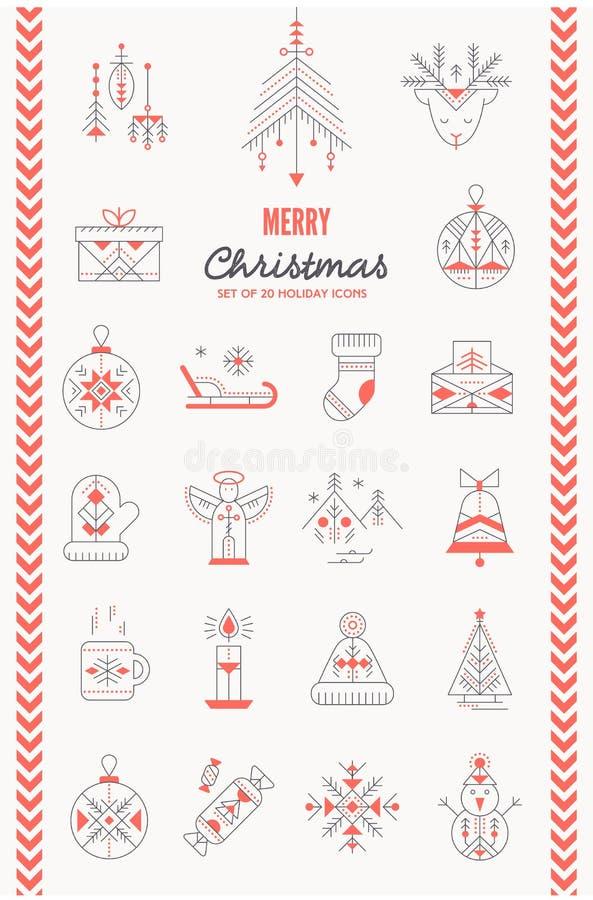 Icona di Natale messa - linea stile creativa royalty illustrazione gratis