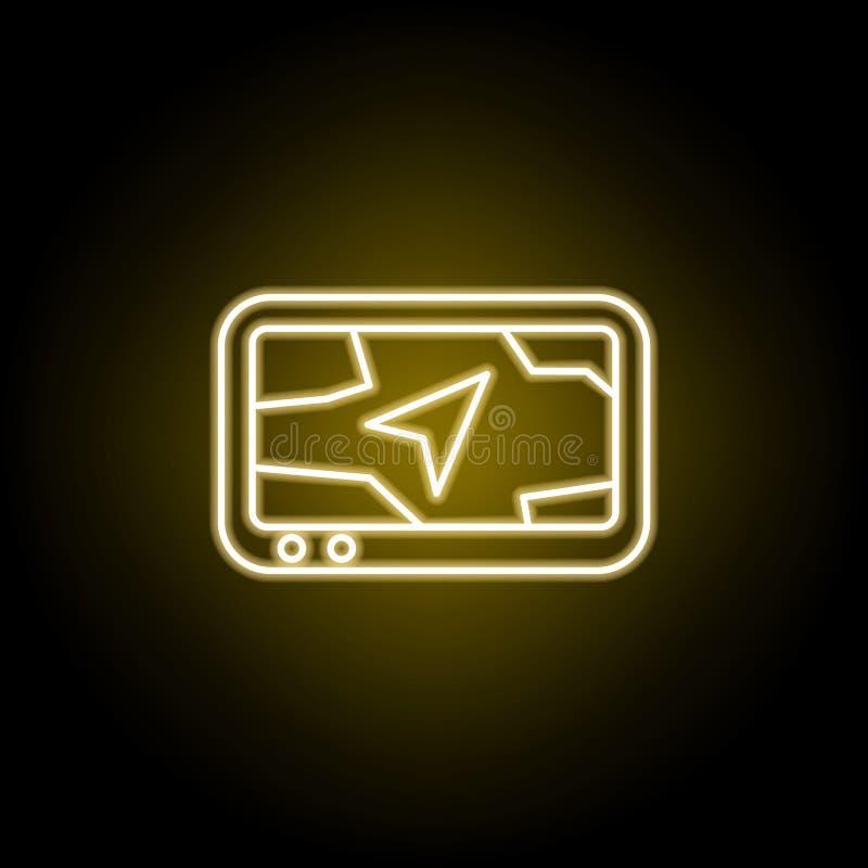 icona di navigazione nello stile al neon I segni ed i simboli possono essere usati per il web, logo, app mobile, UI, UX illustrazione di stock