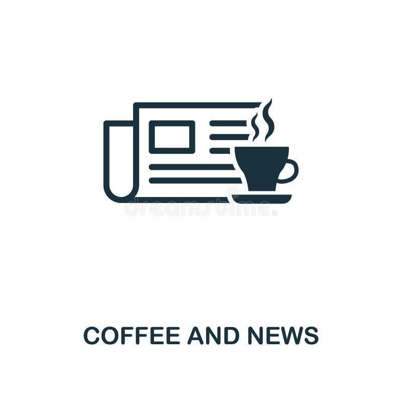 Icona di notizie e del caffè Progettazione premio di stile dalla raccolta dell'icona del negozio del coffe UI e UX Caffè del pixe royalty illustrazione gratis