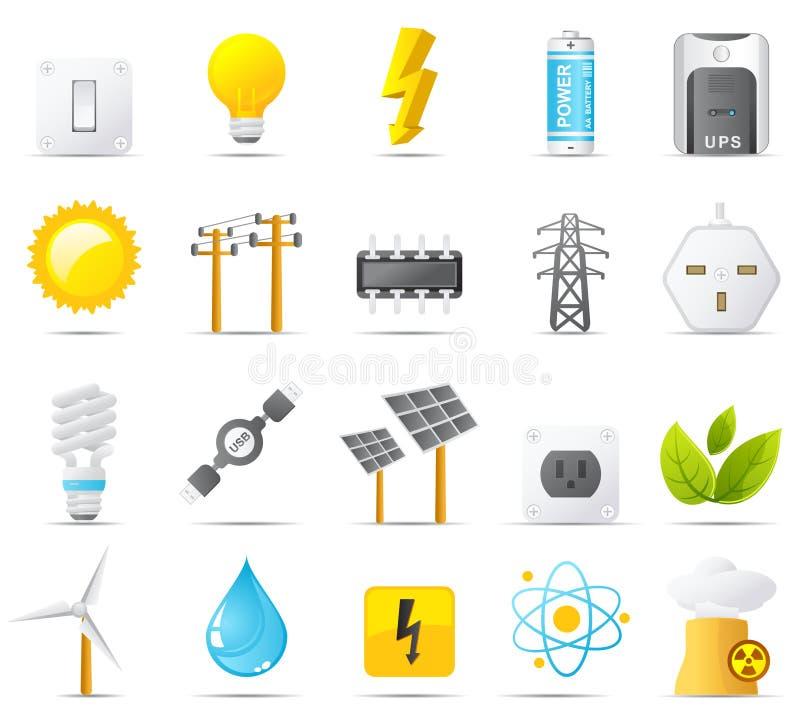 Icona di Nouve impostata: Potenza, energia ed elettricità illustrazione di stock