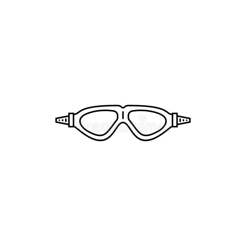 Icona di nuoto del profilo degli occhiali di protezione royalty illustrazione gratis