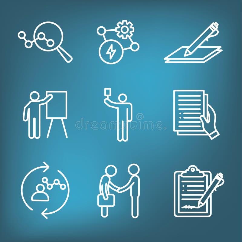 Icona di nuovo processo aziendale messa con il processo di offerta, proposta, contratto illustrazione vettoriale
