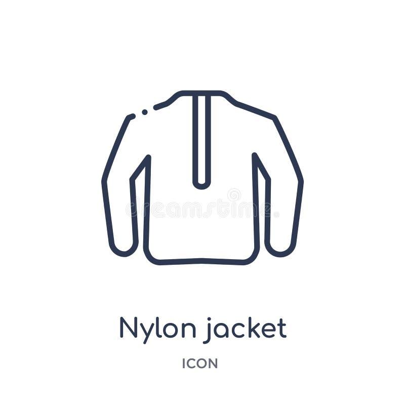 Icona di nylon lineare del rivestimento dalla raccolta del profilo dei vestiti Linea sottile vettore di nylon del rivestimento is illustrazione di stock