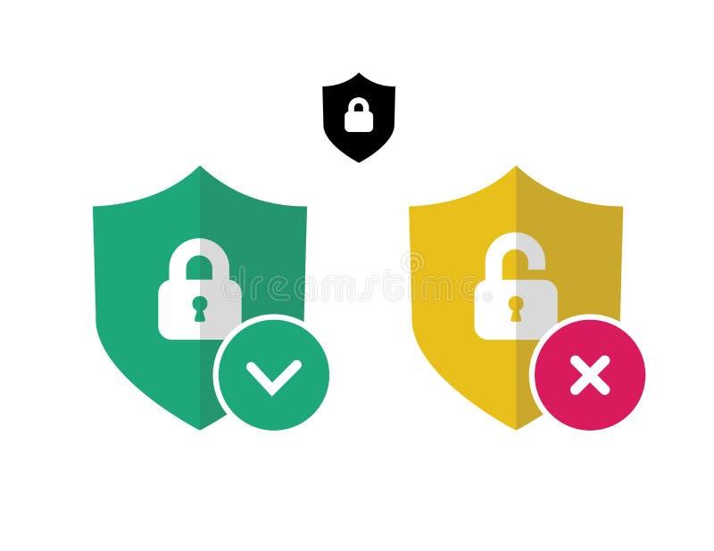 Icona di obbligazione Segno di protezione Icona dello schermo illustrazione di stock