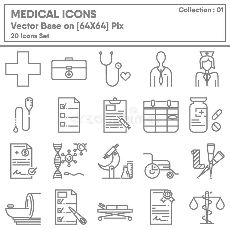 Icona di Occupazione e assistenza medica Set, Icons Collection for Business Medicine Hospital and Insurance Vettore royalty illustrazione gratis